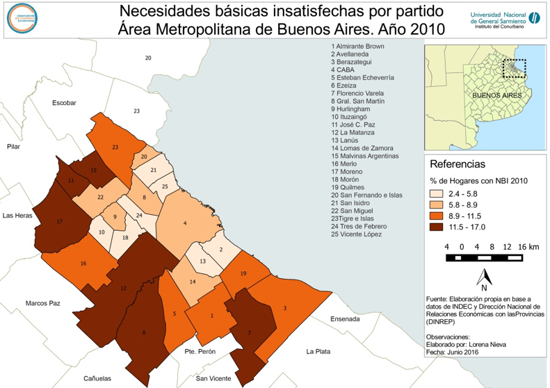 Figure 3: Percentage of homes with unsatisfied basic necessities (UBN) in Greater Buenos Aires, 2010. (Source: Observatorio del Conurbano Bonaerense, National University of General Sarmiento)