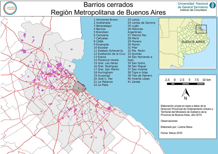 Figure 4: Gated Communities in Greater Buenos Aires, 2010. (Source: Observatorio del Conurbano Bonaerense, National University of General Sarmiento)