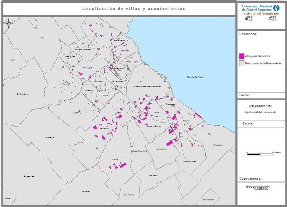 Figure 5: Villas in the Buenos Aires Metropolitan Area, 2008. (Source: Observatorio del Conurbano Bonaerense, National University of General Sarmiento)